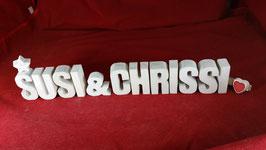 Beton, Steinguss Buchstaben 3D Deko Stern Namen SUSI & CRISSI als Geschenk verpackt!