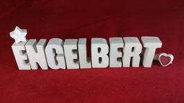 Beton, Steinguss Buchstaben 3D Deko Namen ENGELBERT als Geschenk verpackt!