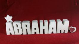 Beton, Steinguss Buchstaben 3D Deko Namen ABRAHAM als Geschenk verpackt!