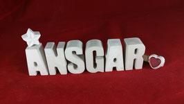 Beton, Steinguss Buchstaben 3D Deko Namen ANSGAR als Geschenk verpackt!