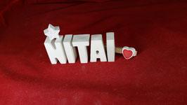 Beton, Steinguss Buchstaben 3D Deko Stern Schriftzug NITAI als Geschenk verpackt!