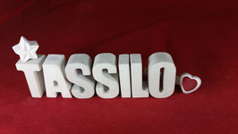 Beton, Steinguss Buchstaben 3D Deko Namen TASSILO als Geschenk verpackt!