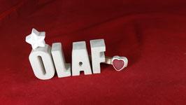 Beton, Steinguss Buchstaben 3D Deko Namen OLAF als Geschenk verpackt!