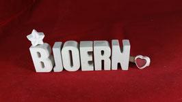 Beton, Steinguss Buchstaben 3D Deko Namen BJOERN als Geschenk verpackt!