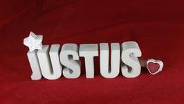 Beton, Steinguss Buchstaben 3D Deko Namen JUSTUS als Geschenk verpackt!