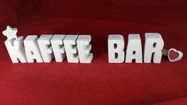 Beton, Steinguss Buchstaben 3D Deko Stern Namen KAFFEE BAR als Geschenk verpackt!