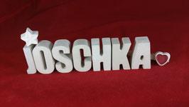 Beton, Steinguss Buchstaben 3D Deko Namen JOSCHKA als Geschenk verpackt!
