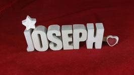 Beton, Steinguss Buchstaben 3D Deko Namen JOSEPH als Geschenk verpackt!