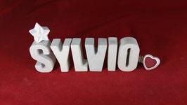 Beton, Steinguss Buchstaben 3D Deko Namen SYLVIO als Geschenk verpackt!
