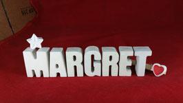 Beton, Steinguss Buchstaben 3D Deko Namen MARGRET als Geschenk verpackt mit Stern und Herzklammer!