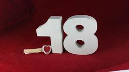 Beton, Steinguss Buchstaben 3D Deko Hausnummer NR. 18 als Geschenk verpackt!