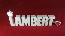 Beton, Steinguss Buchstaben 3D Deko Namen LAMBERT als Geschenk verpackt!
