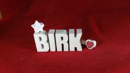 Beton, Steinguss Buchstaben 3D Deko Namen BIRK als Geschenk verpackt!