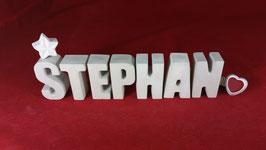 Beton, Steinguss Buchstaben 3D Deko Namen STEPHAN als Geschenk verpackt!