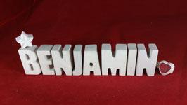 Beton, Steinguss Buchstaben 3D Deko Namen BENJAMIN als Geschenk verpackt!