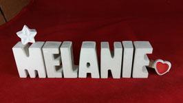 Beton, Steinguss Buchstaben 3D Deko Namen MELANIE als Geschenk verpackt mit Stern und Herzklammer!