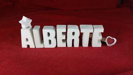 Beton, Steinguss Buchstaben 3D Deko Stern Namen ALBERTE als Geschenk verpackt!