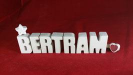 Beton, Steinguss Buchstaben 3D Deko Namen BERTRAM als Geschenk verpackt!