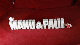 Beton, Steinguss Buchstaben 3D Deko Stern Namen MANU & PAUL als Geschenk verpackt!