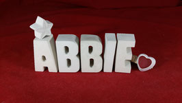 Beton, Steinguss Buchstaben 3D Deko Stern Namen ABBIE als Geschenk verpackt!