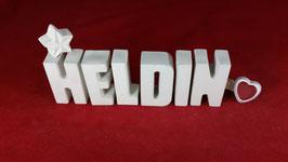 Beton, Steinguss Buchstaben 3D Deko Stern Namen HELDIN als Geschenk verpackt!