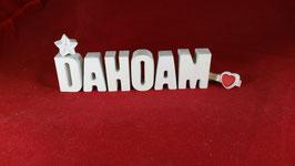 Beton, Steinguss Buchstaben 3D Deko Stern Namen DAHOAM als Geschenk verpackt!