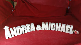 Beton, Steinguss Buchstaben 3D Deko Stern Namen ANDREA & MICHAEL als Geschenk verpackt!