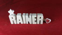 Beton, Steinguss Buchstaben 3D Deko Namen RAINER als Geschenk verpackt!