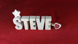 Beton, Steinguss Buchstaben 3D Deko Namen STEVE als Geschenk verpackt!