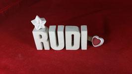 Beton, Steinguss Buchstaben 3D Deko Namen RUDI als Geschenk verpackt!