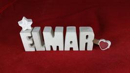 Beton, Steinguss Buchstaben 3D Deko Namen ELMAR als Geschenk verpackt!