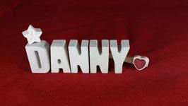 Beton, Steinguss Buchstaben 3D Deko Namen DANNY als Geschenk verpackt!