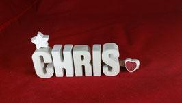 Beton, Steinguss Buchstaben 3D Deko Namen CHRIS als Geschenk verpackt!