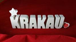 Beton, Steinguss Buchstaben 3D Deko Stern Namen KRAKAU als Geschenk verpackt!