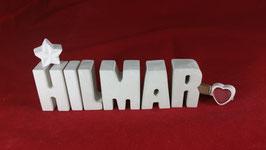 Beton, Steinguss Buchstaben 3D Deko Namen HILMAR als Geschenk verpackt!