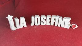 Beton, Steinguss Buchstaben 3D Deko Namen LIA JOSEFINE als Geschenk verpackt!