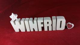 Beton, Steinguss Buchstaben 3D Deko Namen WINFRID als Geschenk verpackt!