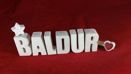 Beton, Steinguss Buchstaben 3D Deko Namen BALDUR als Geschenk verpackt!