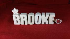Beton, Steinguss Buchstaben 3D Deko Stern Namen BROOKE als Geschenk verpackt!