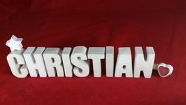Beton, Steinguss Buchstaben 3D Deko Namen CHRISTIAN als Geschenk verpackt!