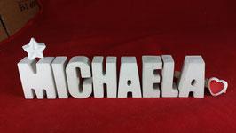 Beton, Steinguss Buchstaben 3D Deko Namen MICHAELA als Geschenk verpackt mit Stern und Herzklammer!