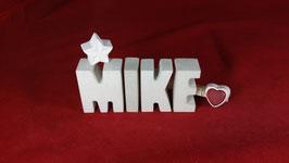 Beton, Steinguss Buchstaben 3D Deko Namen MIKE als Geschenk verpackt!