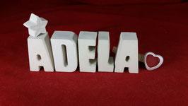 Beton, Steinguss Buchstaben 3D Deko Stern Namen ADELA als Geschenk verpackt!
