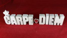 Beton, Steinguss Buchstaben 3D Deko Stern Namen CARPE DIEM als Geschenk verpackt!