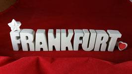 Beton, Steinguss Buchstaben 3D Deko Stern Namen FRANKFURT als Geschenk verpackt!