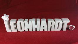 Beton, Steinguss Buchstaben 3D Deko Namen LEONHARDT als Geschenk verpackt!