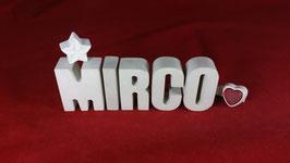 Beton, Steinguss Buchstaben 3D Deko Namen MIRCO als Geschenk verpackt!