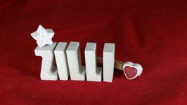 Beton, Steinguss Buchstaben 3D Deko Namen ZILLI als Geschenk verpackt mit Stern und Herzklammer!