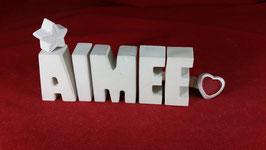 Beton, Steinguss Buchstaben 3D Deko Stern Namen AIMEE als Geschenk verpackt!