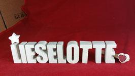 Beton, Steinguss Buchstaben 3D Deko Namen LIESELOTTE als Geschenk verpackt mit Stern und Herzklammer!